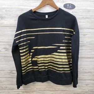 Fabletics Black & Metallic Gold Sweatshirt & Capri